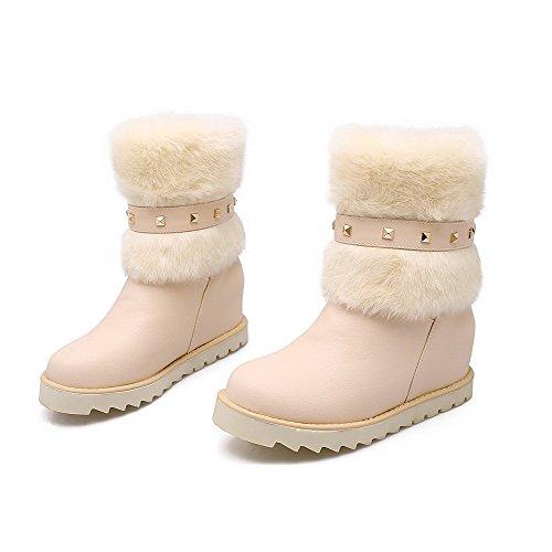 AllhqFashion Damen Mittler Absatz Eingelegt Rund Zehe Ziehen Auf Stiefel Cremefarben