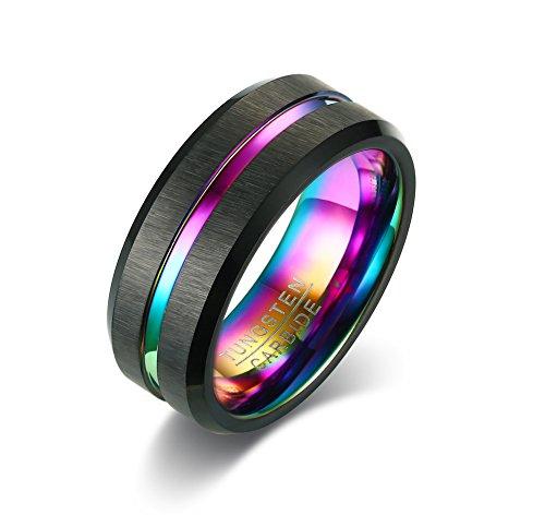 Vnox 8mm männer Hartmetall Matte Fertig Multi Farbe Nut Mittlere Hochzeit Band Versprechen Ring,regenbogen Innen Topaz Herzen Versprechen Ring