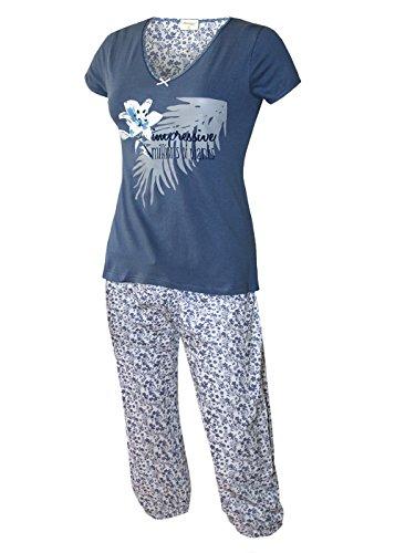 Damen Schlafanzug kurz Capri Hose 3/4 Damen Pyjama kurz Damen Nachthemd kurz aus 100% Baumwolle softweich Gr. S M L XL (M/40-42, oberteil rauchblau / caprihose alloverdruck)