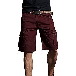 Xinwcanga Hombres Pantalón Cargo Corto, Bolsillos Múltiples Casual Bermudas Pantalones Cortos Elástico Regular-Fit (Vino Rojo, Asia 33)