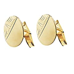 Idea Regalo - Gemelli da uomo Hallmarked ovale in oro giallo diamantato 9-Speciale per uomo