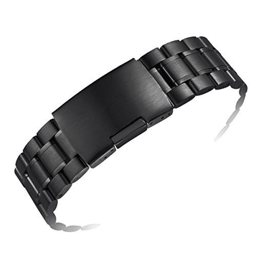 cinturini per orologi di lusso di metallo nero 22mm degli uomini sostituzioni con entrambe le estremità ricurve e finisce dritto stile di ostriche
