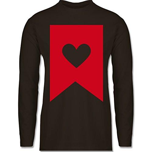 Symbole - Herz - Longsleeve / langärmeliges T-Shirt für Herren Braun
