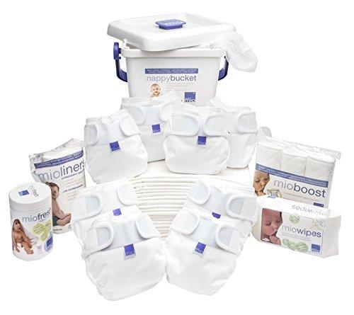 Preisvergleich Produktbild Bambino Mio Miosoft dehnbar, wasserdicht, Super Slim Fit, auslaufsicher wiederverwendbar Premium Windeln von der Geburt bis zum Töpfchen pack, weiß