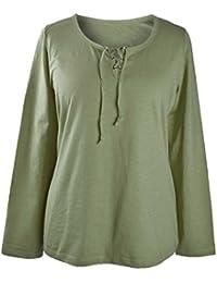 adonia mode Shirt Basic Langarm Schnürung , Gr.40/42-56/58 , 3 Farben zur Auswahl