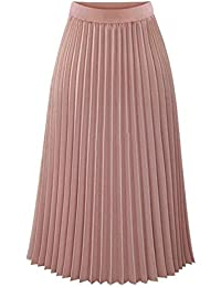 27bb1b86803 Xuba Women Spring Summer Chiffon Casual Skirt Department Pleated Slim  Mid-Calf Skirt Newest
