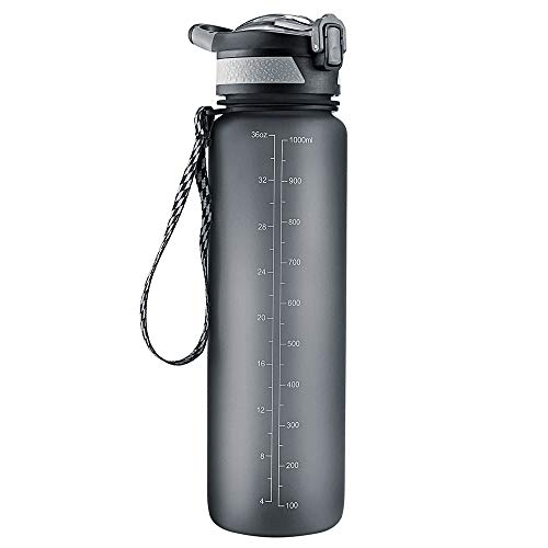 Cocoda Trinkflasche Sport, Tritan Wasserflasche 1L Auslaufsichere Fahrrad Sportflasche BPA Frei mit Schnapp-Deckelfunktion, Fahrradtrinkflasche für Schule, Fitness, Yoga, Outdoor, Camping