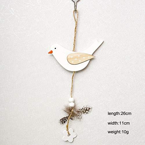 Gonglong - decorazione da appendere a forma di coniglio, sposa, gallina, pasquale, decorazione per la casa, legno, cartoni animati, 1 pezzo, white bird