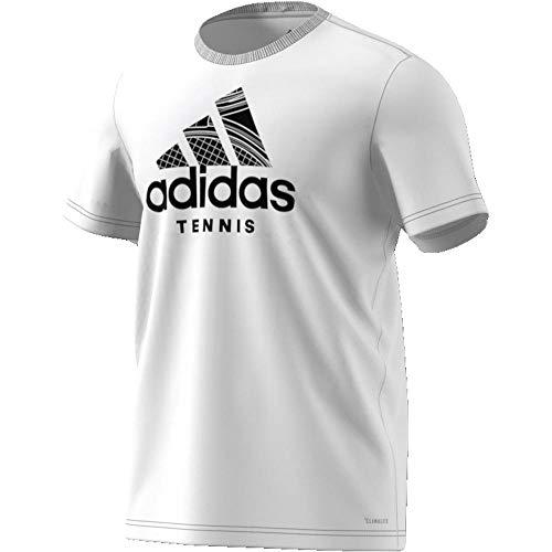 adidas Herren Tennis Badge of Sport T-Shirt, White, L (Adidas Tennis-shirt)