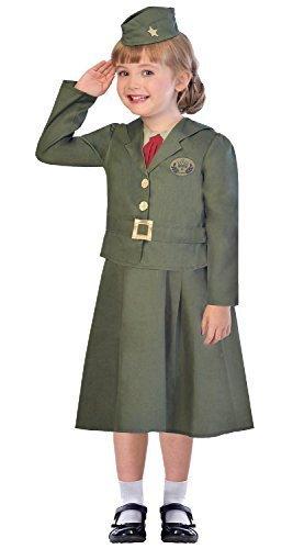Mädchen 1. Weltkrieg WW2 grün Soldaten Armee Militär Uniform Beruf historisch 3-tlg. Kostüm Kleid Outfit 5-12 Jahre - 11-12 years (Grüne Armee Soldat Kostüm)