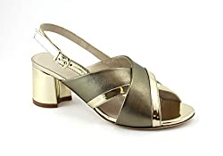 Sandal woman model with adjustable strap leather upper leather lining and insole heel cm. 5.5 leather sole Made in Italy