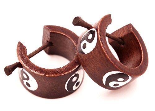 MADE IN ZEN Ohrringe, Creolen, Piercing aus Holz, Fake-Dehnungsstab Yin Yang Wooden Earrings Wood Ethno Expander Fake Tribal