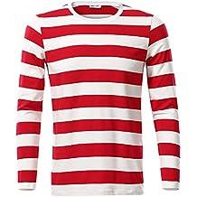 c74699b993ffa MSBASIC Camisa a Rayas de algodón de Manga Larga Casual para Hombre