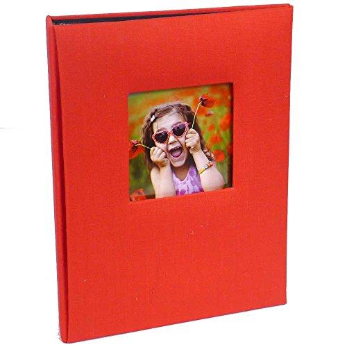 Kenro Leinen-Fotoalbum mit Platz für Foto auf Dem Vorderdeckel, Einsteckseiten, Modernes Design, ideal für Familienfotos, Azteken-Reihe, rot, 36 Photos 6x4 / 10x15cm