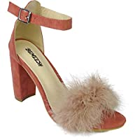 BeMeesh Womens Ladies Fur Sandal High Heels Shoes Fluffy Strappy Stiletto, 5 UK, Pink