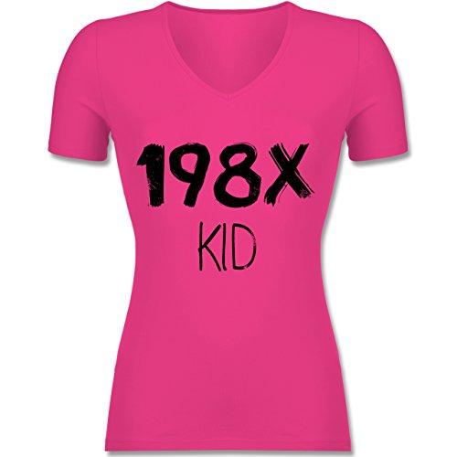 Geburtstag - 198X Kid Vintage - L - Fuchsia - F281N - Tailliertes T-Shirt mit V-Ausschnitt für Frauen (Vintage 80er Jahre T Shirts)