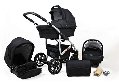 SaintBaby Stroller Pram 2in1 3in1 Set All in one Baby seat Buggy Pushchair New L-GO Black 3in1 with Baby seat SaintBaby 3in1 or 2in1 Selectable. At 3in1 you will also receive the car seat (baby seat). Of course you get the baby tub (classic pram) as well as the buggy attachment (sports seat) no matter if 2in1 or 3in1. The car naturally complies with the EU safety standard EN1888. During production and before shipment, each wagon is carefully inspected so that you can be sure you have one of the best wagons. Saintbaby stands for all-in-one carefree packages, so you will also receive a diaper bag in the same colour as the car as well as rain and insect protection free of charge. With all the colours of this pram you will find the pram of your dreams. 1