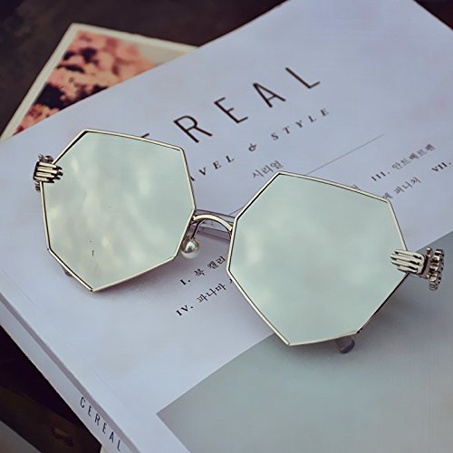 LXKMTYJ Persönlichkeit Sonnenbrille Polygon Perlen Nase Kissen Gläser achteckigen Sonnenbrille Gräber, Weiß Quecksilber