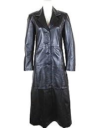 UNICORN Womens Full Length Trench Coat Real Leather Jacket Black #AW