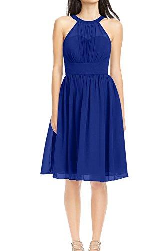 Ivydressing Damen Einfach A-Linie Neck halter Mini aermellos Chiffon Abendkleid Festkleid Ballkleid Partykleid Royalblau