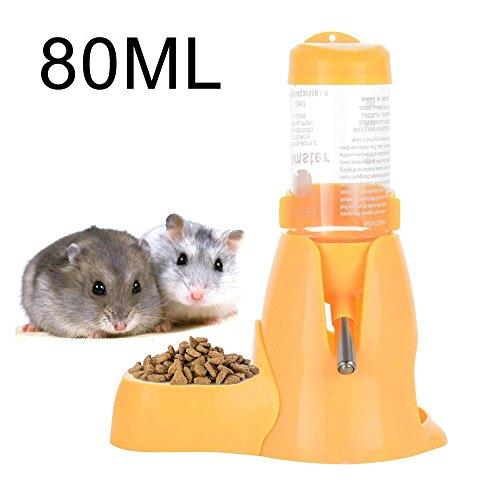 Pet-Flasche, MOACC Pet Trinkflasche mit Food Container Boden Hütte für Hamster Ratten Versuchskaninchen Frettchen Kaninchen Kleine Tiere zum Aufhängen Wasser Füttern Flaschen Auto Spender (80ML, Gelb)