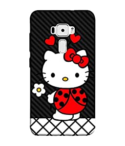 Fuson Designer Back Case Cover for Asus Zenfone 3 ZE552KL (5 Inches) (Hearts Hello Kitty Cat Pink Love )