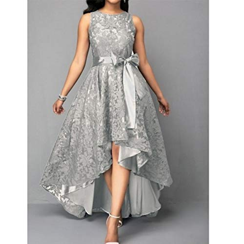 CEGFXCSW Kleid Women Plus Size Vintage Sleeveless High Low Hem Belted Lace Party Dress High Waist Solid Dress S-5Xl Ladies,Silver,5XL - Dress Belted Lace
