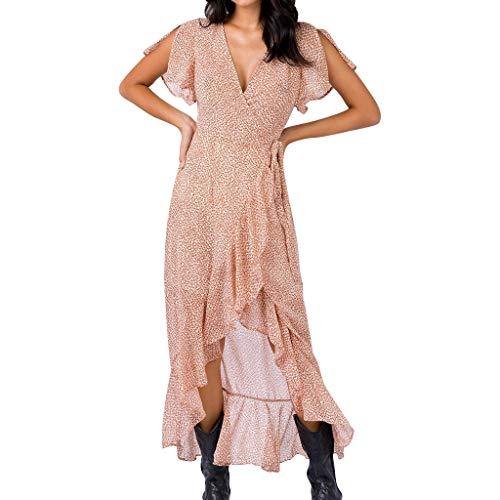 Floweworld Damen Sommer Maxi Kleider Kreuz V-Ausschnitt Flare Ärmel Bandage Open Fork Rüschen Fashion Leopard Kleid