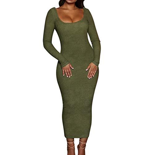 Damen S-Typ Bodycon Partykleid Elegant Lange Kleider,Oliviavan Frauen Solide Sexy Bodycon Backless Aushöhlen Langes Abend Party Nachtclubkleid Vintage