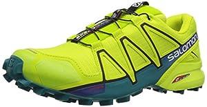 Salomon Herren Speedcross 4 Traillaufschuhe, Mehrfarbig (Lime Green/Black/Scarlet Ibis), 44 2/3 EU