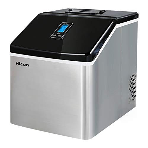 Lxn Máquina de hielo - Máquina portátil para hacer hielo en la encimera - Produce 55 libras de hielo por 24 horas - Acero inoxidable - Pantalla LCD