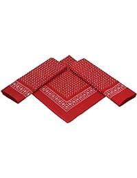 Betz 3er Pack Nickituch Bandana Kopftuch Halstuch Kleine Punktenmuster Größe ca. 55 x 55 cm 100% Baumwolle Farbe: rot