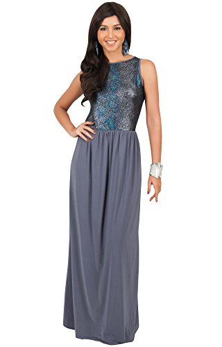 KOH KOH® Damen Metallisch Lange Maxikleid Ärmellose Cocktail Glitzern Party Kleid Dunkel Grau
