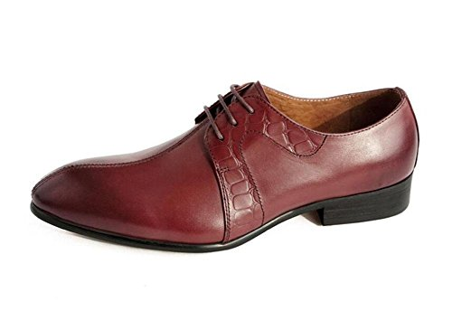 SHIXR Männer Oxford spitzte Leder Schuhe britischen Trend Herrenschuhe High-Grade First-Class Leder Haar Stylist Schuhe red brown