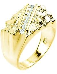 10 ct Yellow Gold Cubic Zirconia Signet Nugget Men's Ring