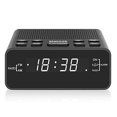 Radiowecker, AM/FM Digitaler Wecker Radio mit LED Display, Sleep Timer, Dimmer, Snooze Battery Backup für Schlafzimmer,Bedside,Desk,Shelf - Batterie-backup Wecker Mit