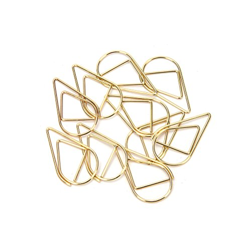 Mini Metall Wasser Tropfen Form Paper Clips Lesezeichen Clips Office Stationery Supply Dekoration, 1,5 * 2,5 cm, 10/set gold