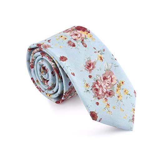 Yetta Home 6cm hellblaue Rose Blume floral dünne Krawatte klassisches Design männer Baumwolle Krawatte Partei lässig geschäft bankett Hochzeit bräutigam in geschenkbox