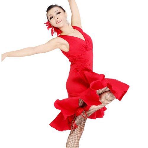 Motony Fashion Sleeveless V-Ausschnitt Latin Dance Dress Rumba Rock EIN Stück Bühnenkostüm Rot XS - Wettbewerb V-ausschnitt