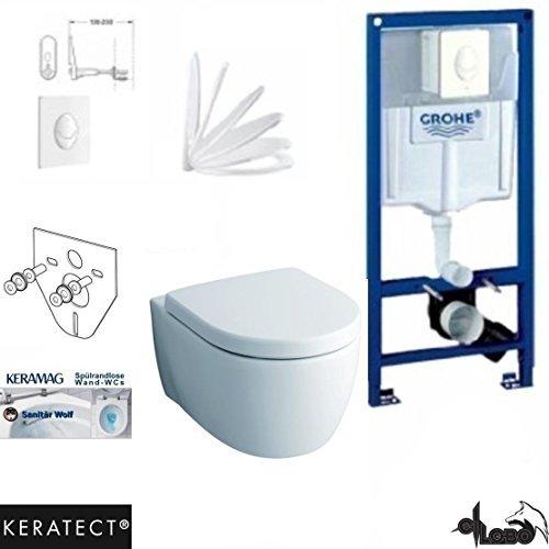 Grohe Vorwandelement mit Drückerplatte, Keramag ICON XS , rimfree, Spülrandlos, Wand WC, WC Sitz , Keratect Beschichtung
