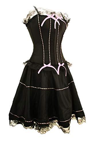 aimerfeel Damen Imposante Schwarz CORSE rosa Kleid Band (vollbusigere Korsett + Rock), Größe-3XL (44)