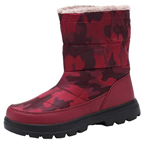 Stivali Donna in Cotone da Neve Impermeabile con Scarpe mimetiche Calde in Velluto Plus (39 EU,Donna-Rosso)