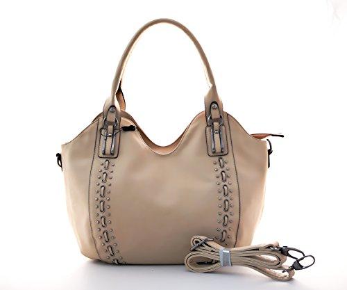 Große Damen Schultertasche, Modische Handtasche in den Farben, beige, grau und pink Beige