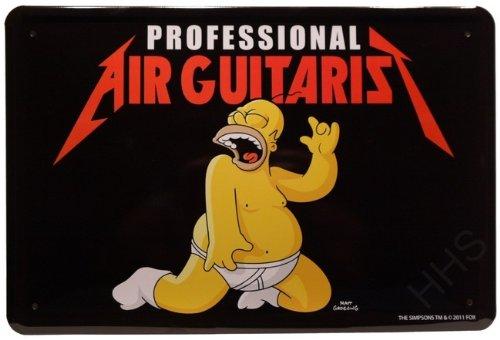 Blechschild Air Guitaris The Simpsons Luftgitarre 20 x 30cm Reklame Retro Blech 123 (Simpson Air)
