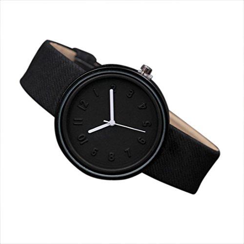 Valentinstag Uhren DELLIN Unisex Simple Fashion Number Uhren Quarz Leinwand Gürtel Armbanduhr (Schwarz)