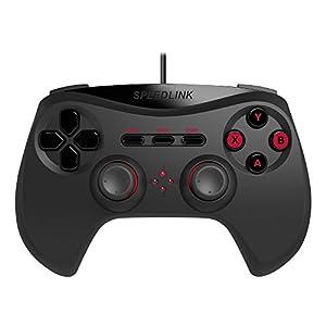 Speedlink Gamepad für PC/Computer – Strike NX Gaming Controller (Hochrealistische Vibrationen – Optimale Ergonomie – Hohe Kompatibilität durch Dual-Mode-Technologie) 1,8m Kabellänge schwarz