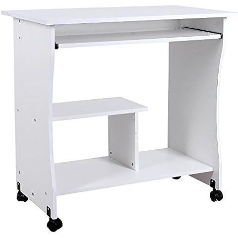 Songmics Mesa para Ordenador Compacta Portateclado Escritorio para Ofina o Hogar Moderna, 80 x 48x 76 cm, Blanco, LCD858W