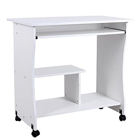 Songmics Computertisch mit Tastaturauszug 3 Regale 4 Kunststoffrollen 80 x 48 x 76 cm PC Tisch für Ihren Arbeitsplatz zu Hause oder im Büro weiß