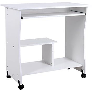 Songmics scrivania porta pc tavolo per computer desk con - Porta computer bianco ...