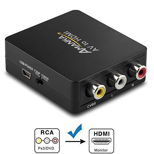 RCA auf HDMI Adapter, AMANKA AV auf HDMI Konverter AV zu HDMI Adapter Unterstützung 1080P für PC/Xbox/PS4/PS3/TV/STB/VHS/VCR/Kamera/DVD (Böse Mit Ps4 Der)